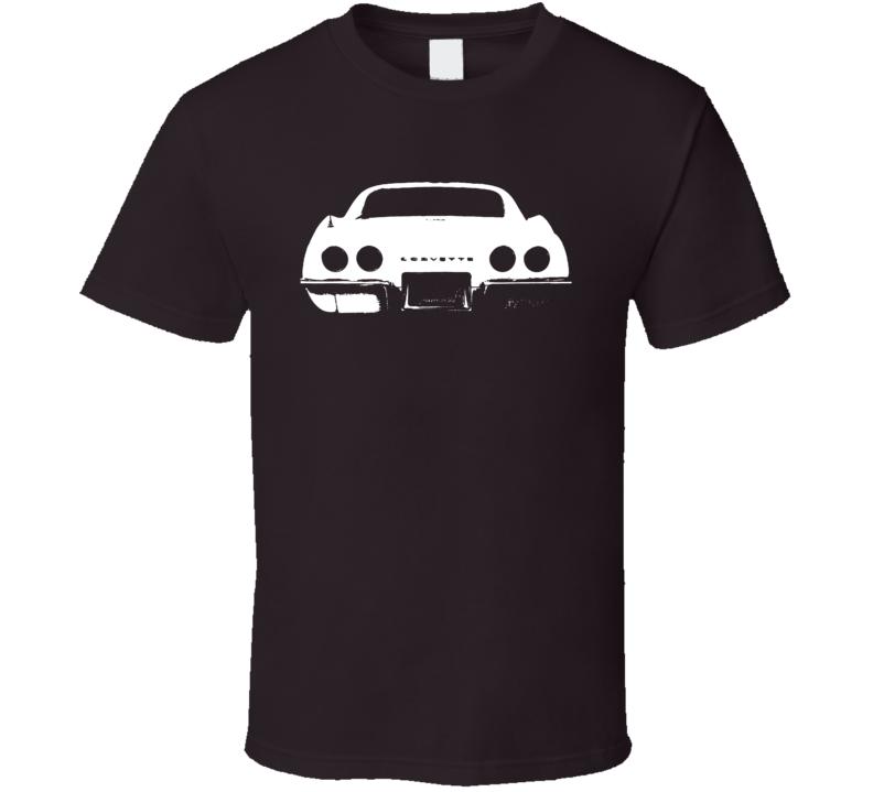 1969 Corvette Rear View Faded Look Dark T Shirt