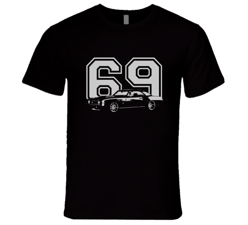 1969 Chevy Camaro With Year Faded Look Dark T Shirt