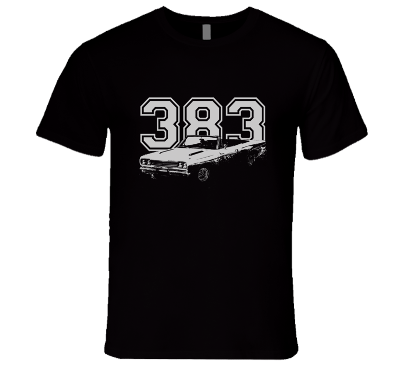 1968 Plymouth Road Runner With Engine Faded Look White Graphic Dark T Shirt