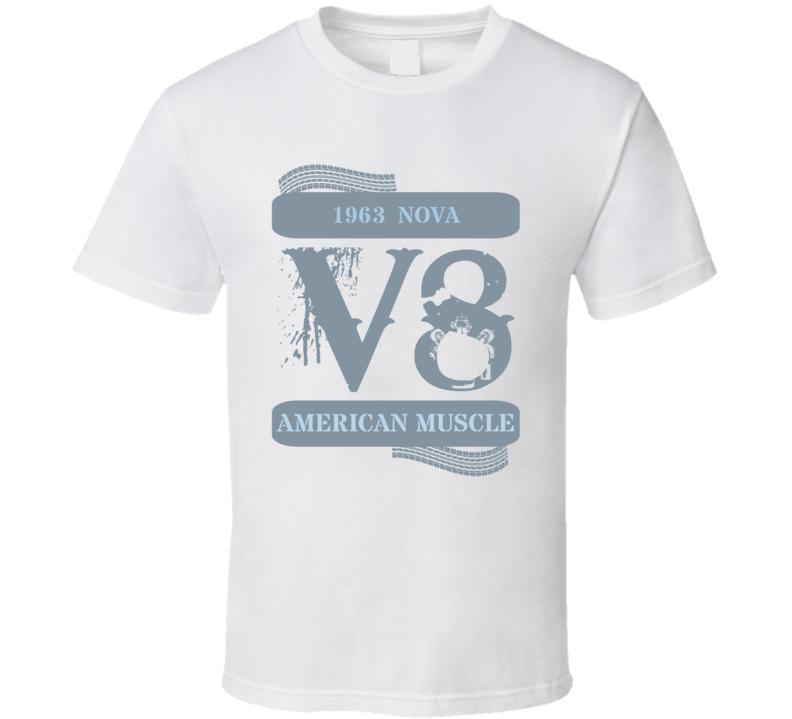 1963 Chevy Nova V8 Muscle Car Faded Look T Shirt