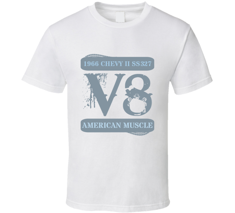 1966 Chevy Ii Ss327 V8 Muscle Car Faded T Shirt
