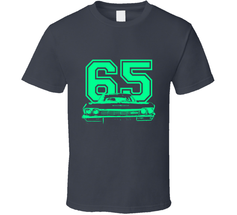 1965 Chevy Bel Air Grill Year Light Green Graphic  T Shirt