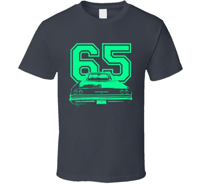 1965 CHEVY BEL AIR Faded Look Rear View Light Green Graphic Dark T Shirt