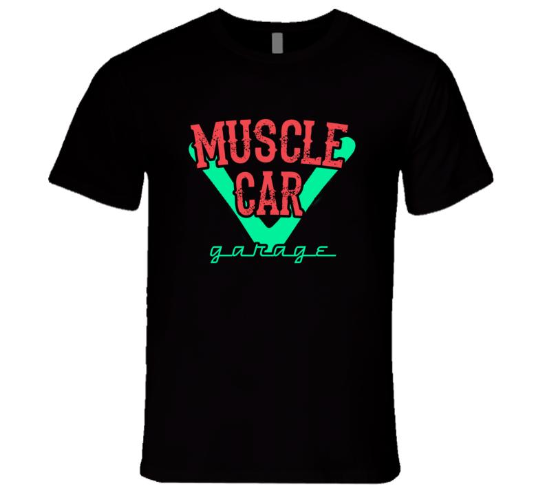 Muscle Car Garage Neon Sign Dark T Shirt
