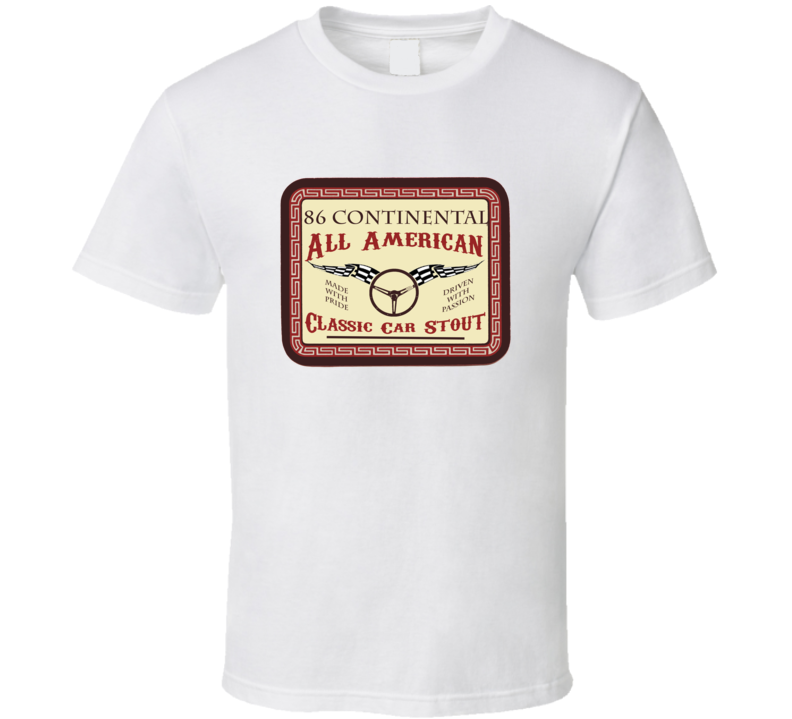 1986 Lincoln Continental Custom Beer Label T Shirt