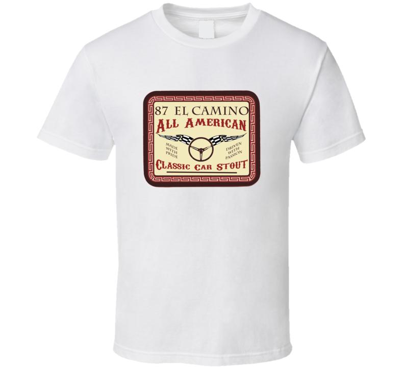 1987 Chevrolet El Camino Custom Beer Label T Shirt