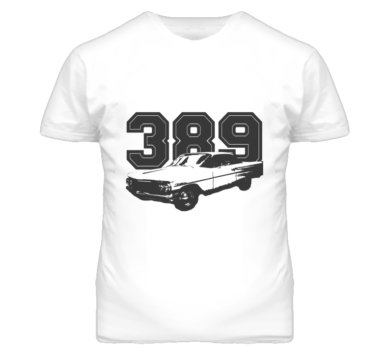 1960 Pontiac Ventura With Engine Size Black Graphic Light Tee T Shirt