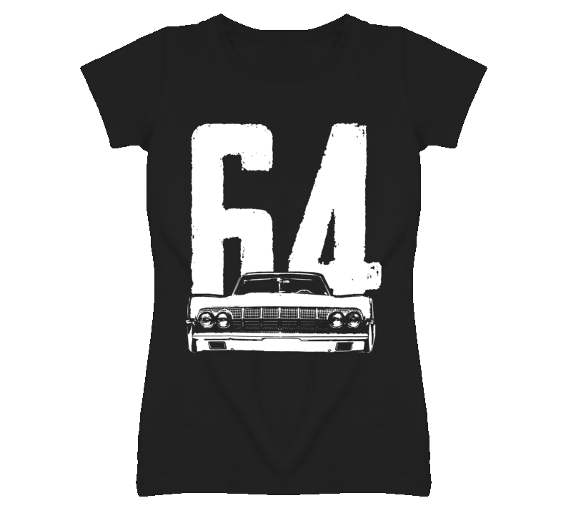 1964 Lincoln Continental Grill View With Year Faded Look Dark T Shirt
