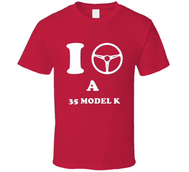 I Drive A 1935 Lincoln Model K Steering Wheel I Heart NY Parody T Shirt