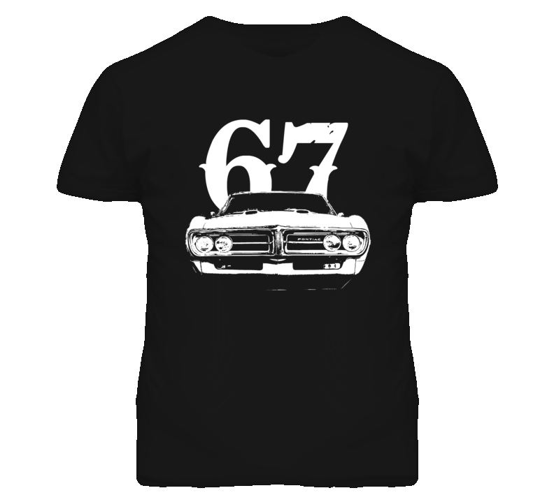 1967 Pontiac Firebird Grill View With Year Faded Look Dark T Shirt