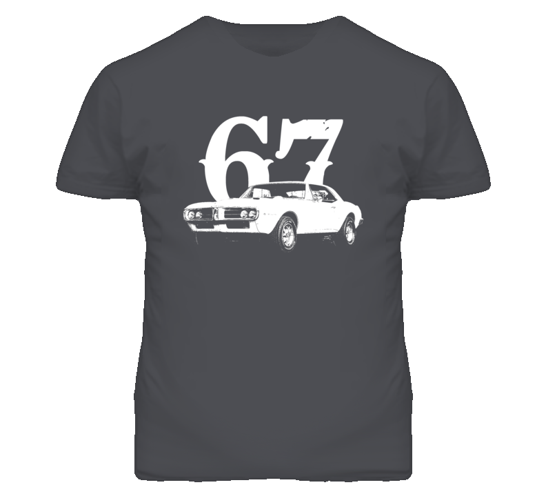 1967 Pontiac Firebird Side View With Year Vintage Look Dark T Shirt