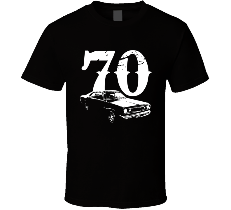 1970 Plymouth Duster Side View With Year Faded Look Dark T Shirt