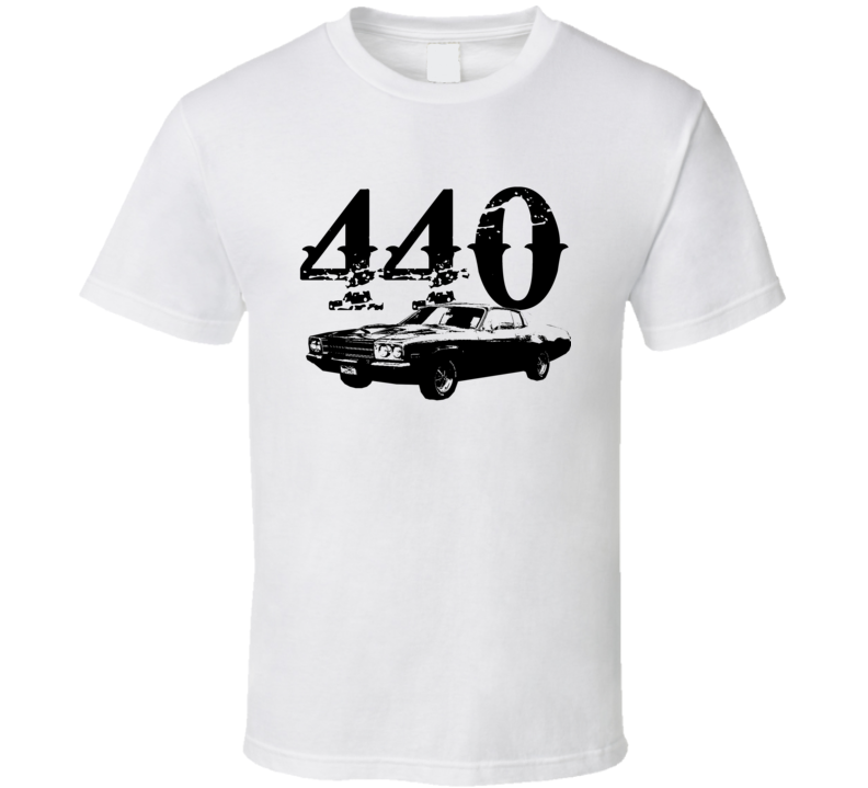 1973 Plymouth Roadrunner Side View With Engine Size Faded Look Light T Shirt