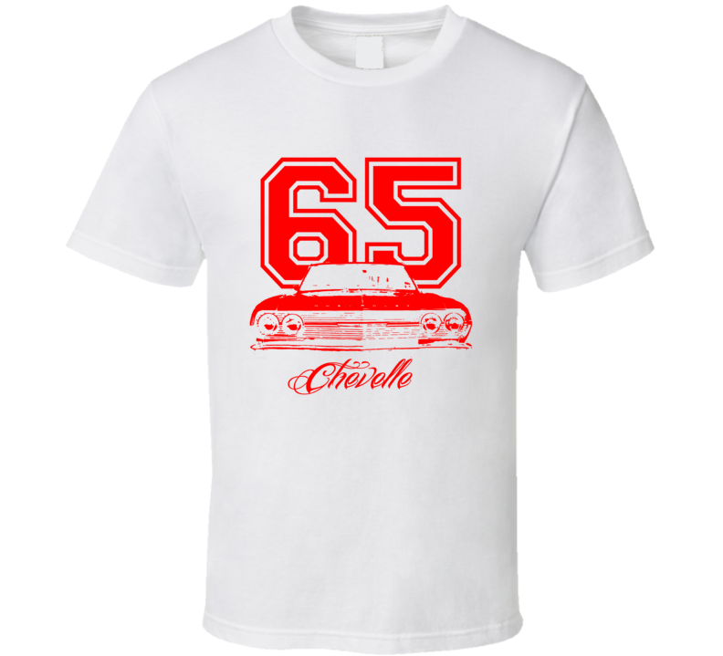 1965 Chevelle Grill Model Year Red Graphic  T Shirt