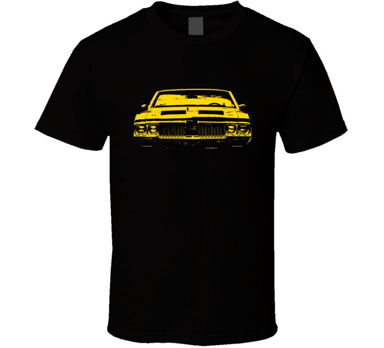 1970 Oldsmobile 442 Faded Look Grill View Yellow Graphic Dark Color T  T Shirt