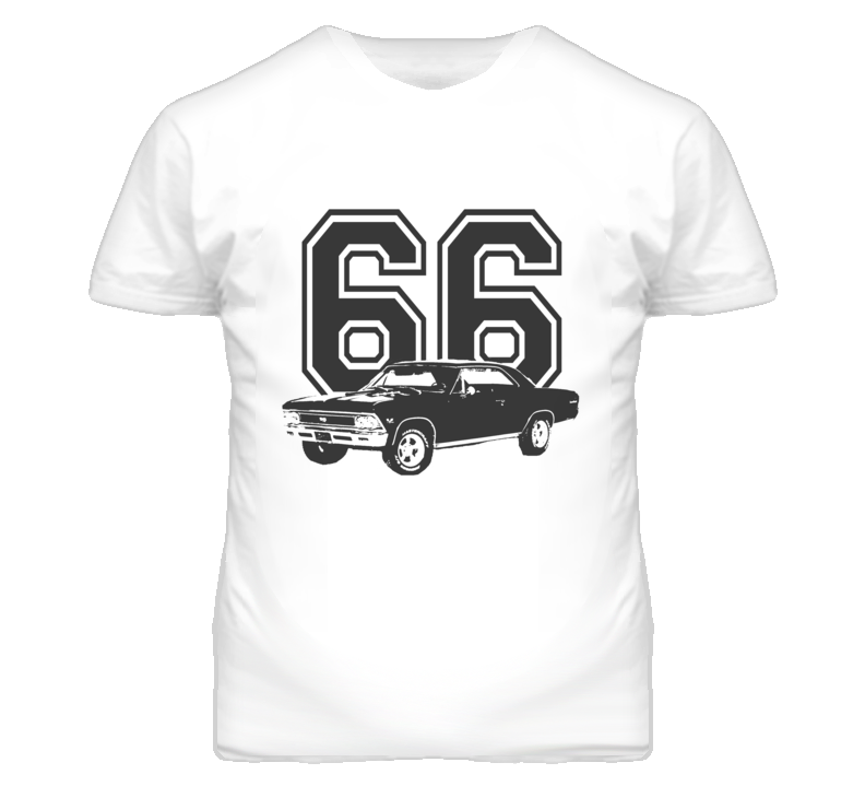1966_Chevy Chevelle Side Black Graphic Year T Shirt