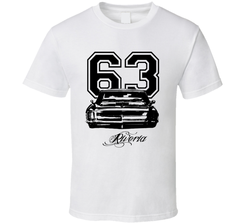 1963 Buick Riviera Grill Year Model Black Graphic  T Shirt