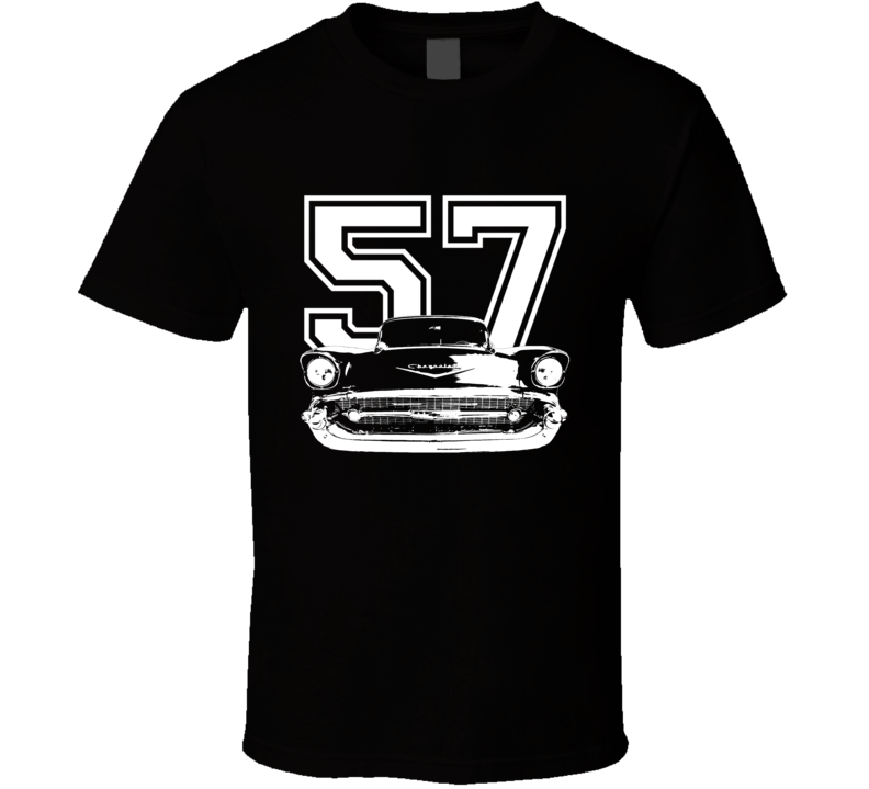 1957 Chevy Classic Grill View Year White Graphic Dark Color Shirt