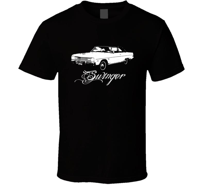 1973 Dodge Dart Swinger Side View Model Name White Graphic Dark Color Shirt