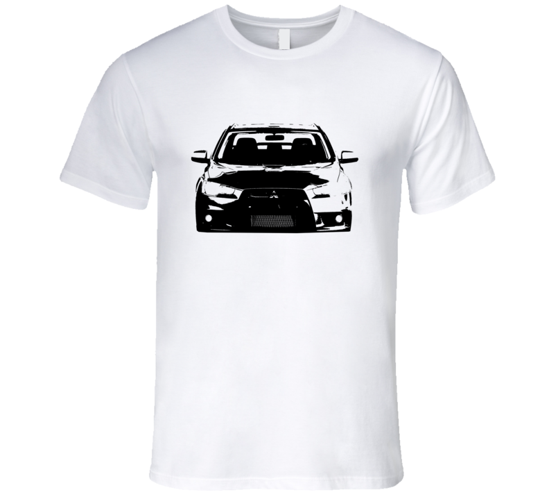 2010 Mitsubishi Lancer Evolution Grill View Faded Look Light T Shirt