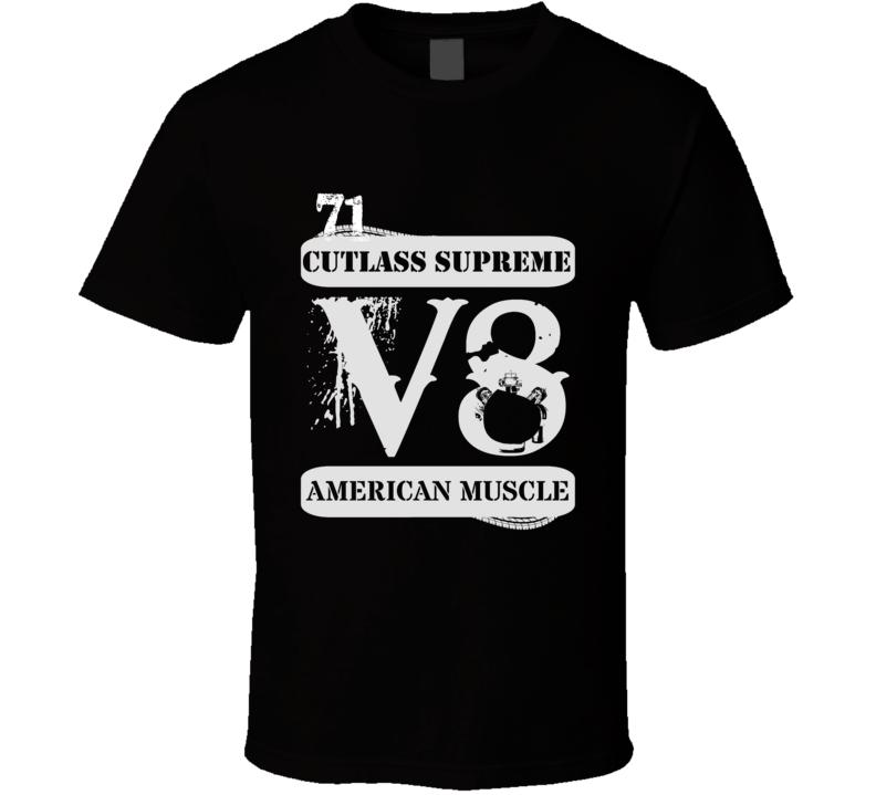1971 Cutlass Supreme V8 American Muscle Black T Shirt