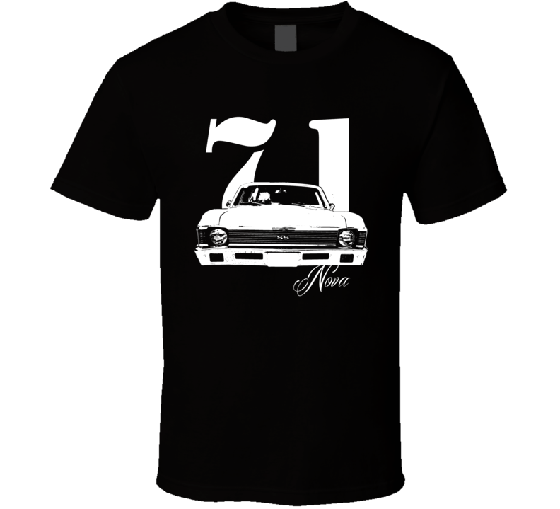 1971 Nova Grill View With Year and Model Dark T Shirt