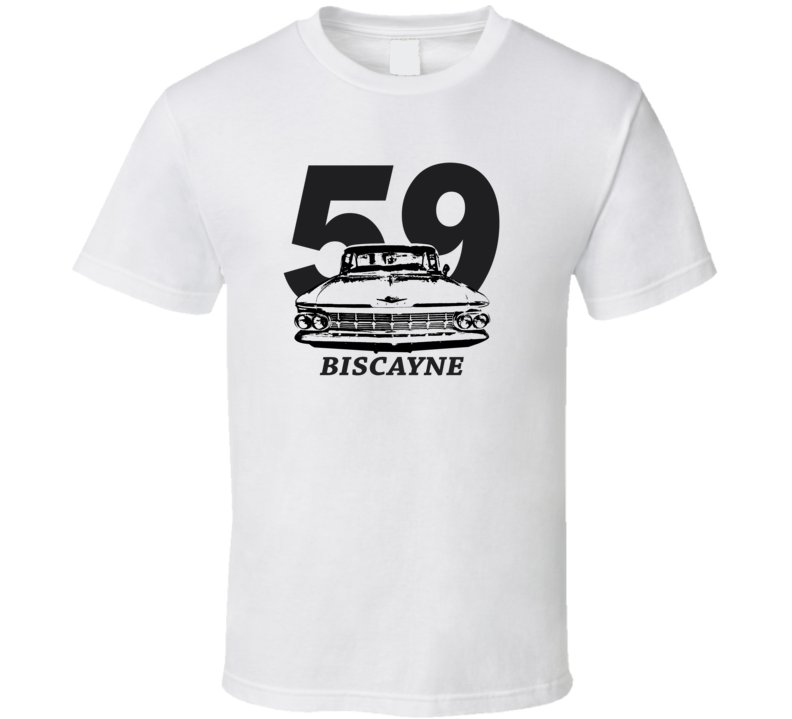1959 Bsicayne Grill View With Year And Model Light Color T Shirt
