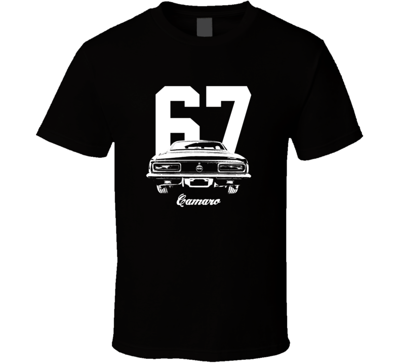 1967 Camaro Rear View With Year And Model Dark Color T-Shirt