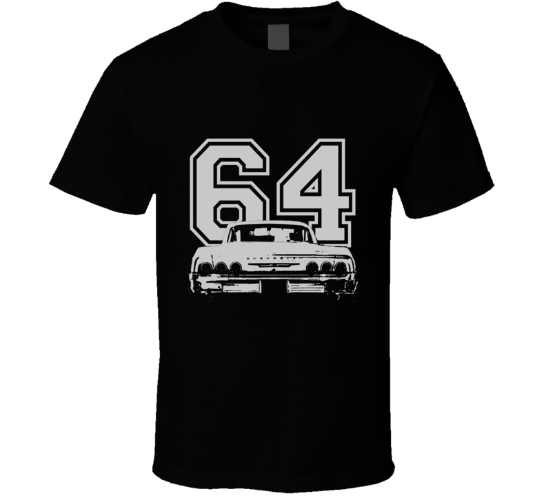 1964 CHEVY IMPALA SS Rear White Graphic Year T Shirt
