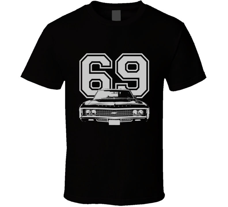 1969 CHEVY IMPALA SS Grill White Graphic Year T Shirt