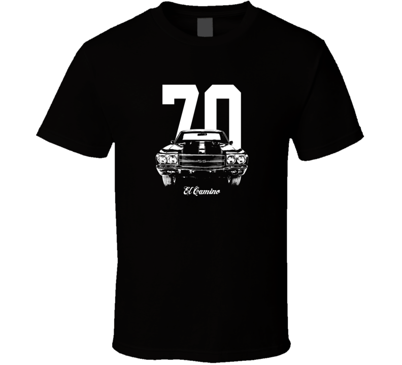 1970 El Camino Grill View With Year And Model Dark Color T Shirt