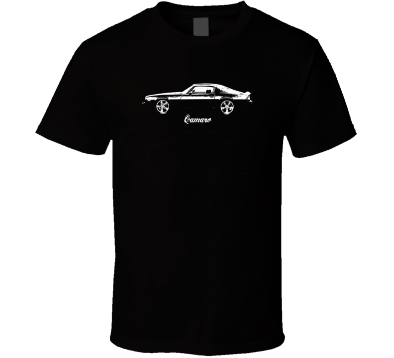 1974 Camaro Side View With Model Dark Color T Shirt