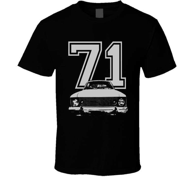 1971 AMC HORNET Grill  White Graphic Year Dark T Shirt
