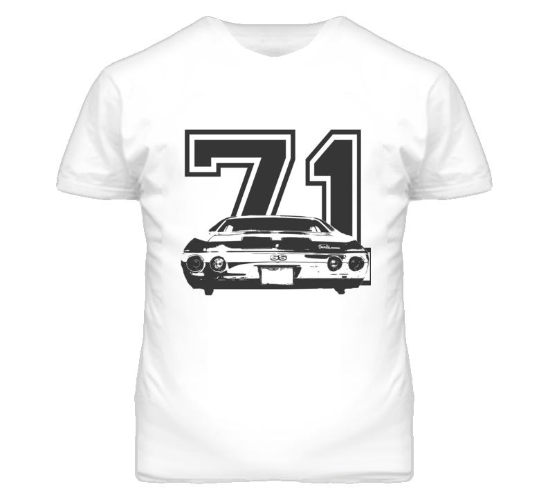 1971 CHEVELLE Rear Black Graphic Year Light T Shirt