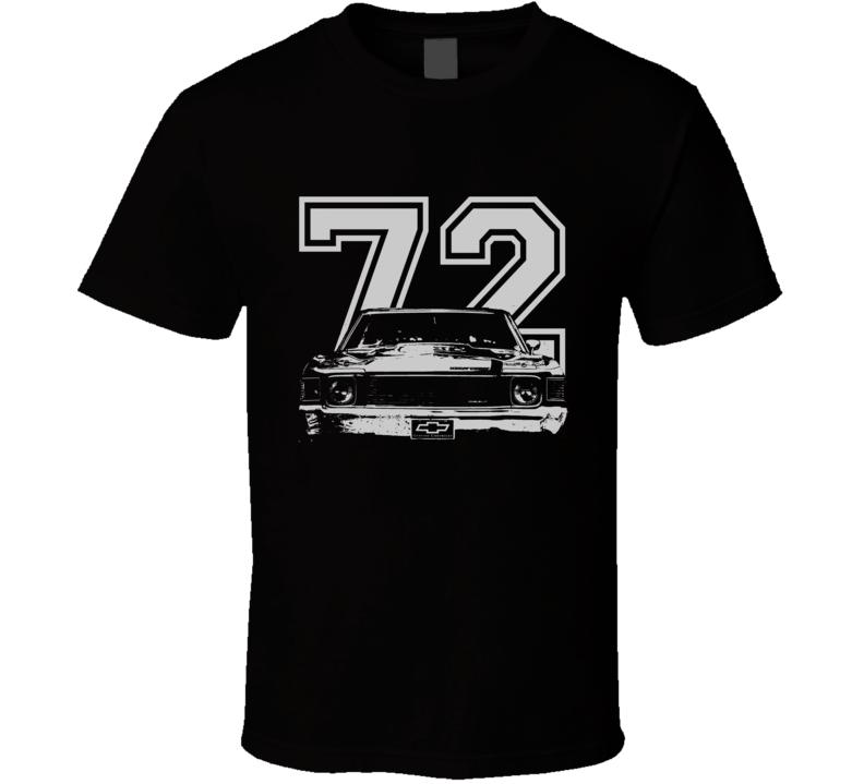 1972 Chevelle Grill White Graphic Year Dark T Shirt