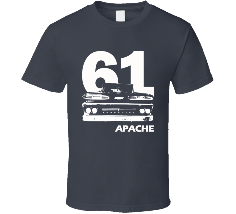 1961 C10 Apache Pickup Grill View With Year And Apache Model Name Charcoal T Shirt