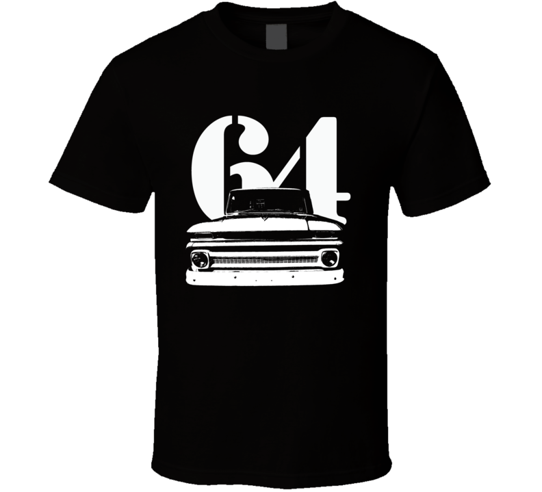 1964 C10 Apache Pickup Truck Grill View With Year Black T Shirt