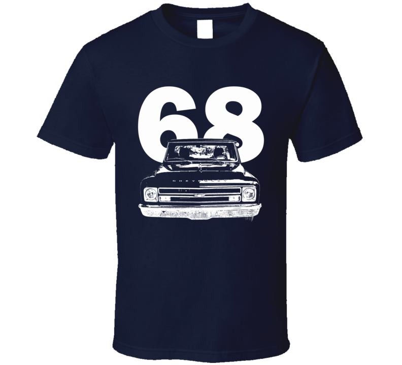 1968 C10 Pickup Truck Grill View With Year Navy T Shirt