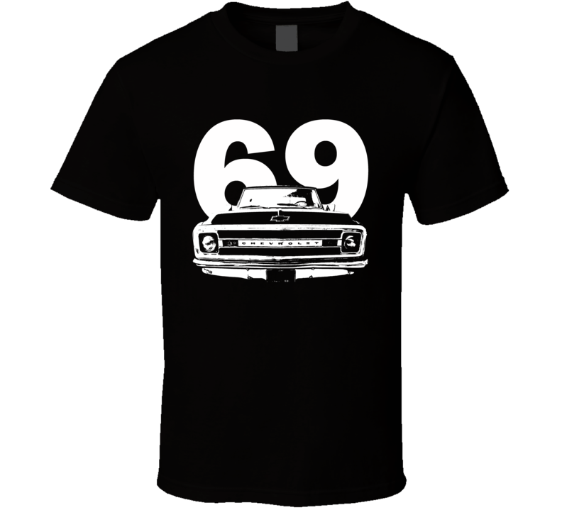 1969 C10 Apache Pickup Truck Grill View With Year Black T Shirt