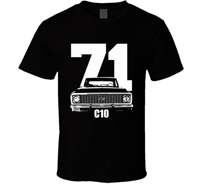 1971 C10 K10 Pickup Grill View With Year And Model Name Black T Shirt