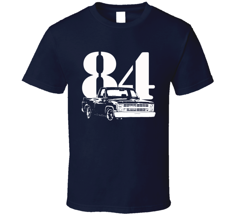 1984 C10 K10 Pickup Truck Side View With Year Navy Blue T Shirt