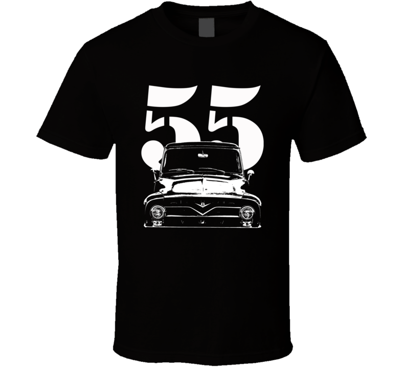 1955 F100 Pickup Truck Grill View With Year Black T Shirt