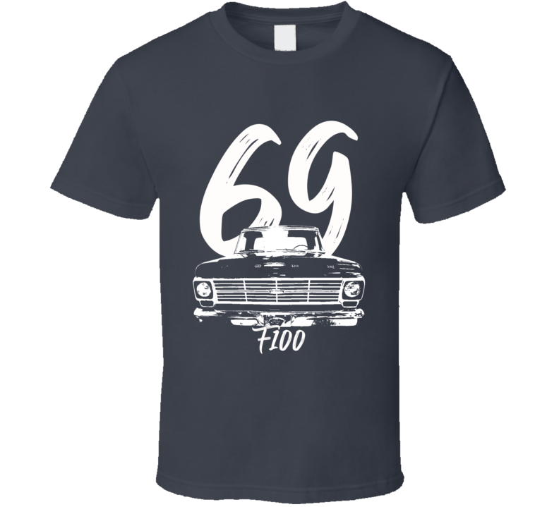 1969 F100 Pickup Truck Grill View With Year And Model Name Charcoal Grey T Shirt