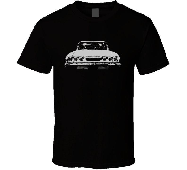 1963 CHEVY IMPALA SS Faded Look Rear View White Graphic Dark T Shirt