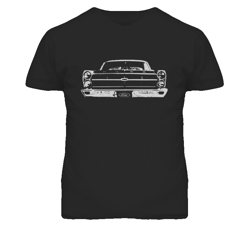 1967  FAIRLANE Faded Look Grill View White Grapic Dark T Shirt