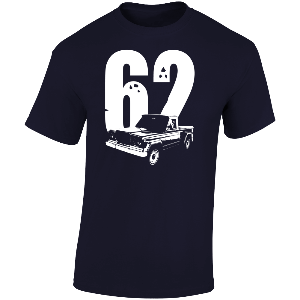 1962 Jeep Gladiator Three Quarter Angle View With Year Light Color T Shirt