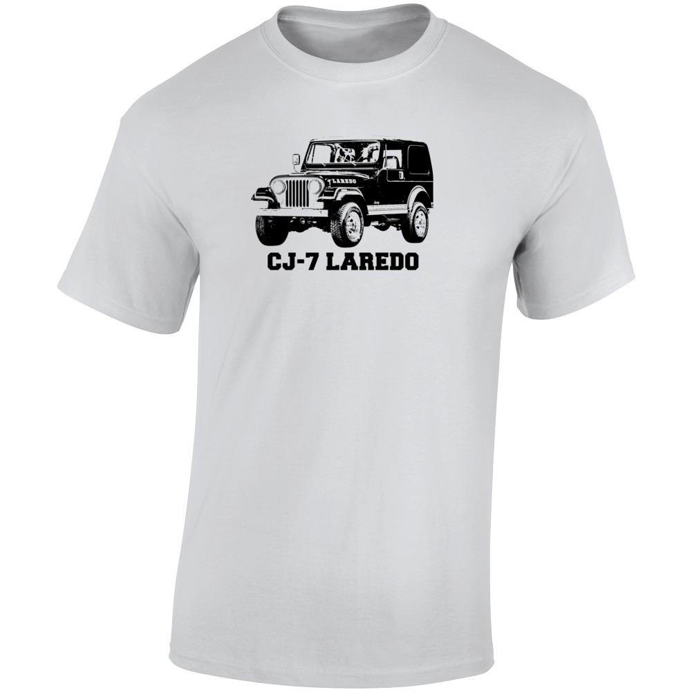 1981 Jeep Cj-7 Laredo Three Quarter Angle View With Model Name Light Color T Shirt
