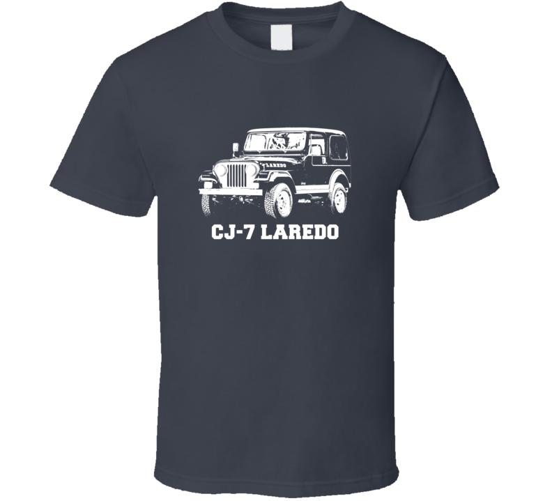1981 Jeep Cj-7 Laredo Three Quarter Angle View With Model Name Dark Color T Shirt