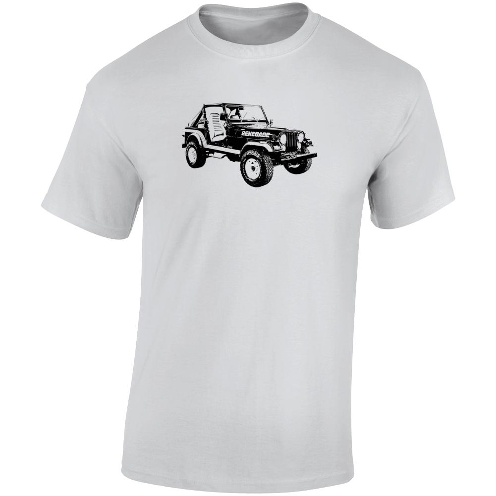 1986 Jeep Cj-7 Renegade Three Quarter Angle View Light Color T Shirt