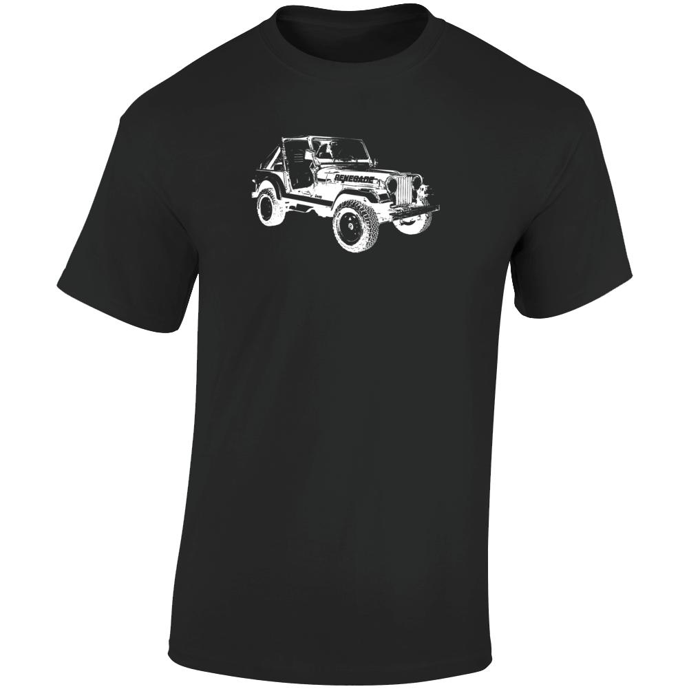 1986 Jeep Cj-7 Renegade Three Quarter Angle View Dark Color T Shirt